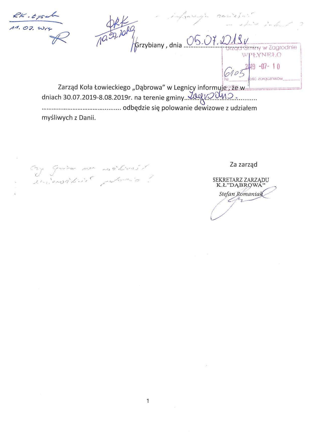 Polowanie dewizowe z udziałem myśliwych z Danii 30.07.2019-8.08.2019