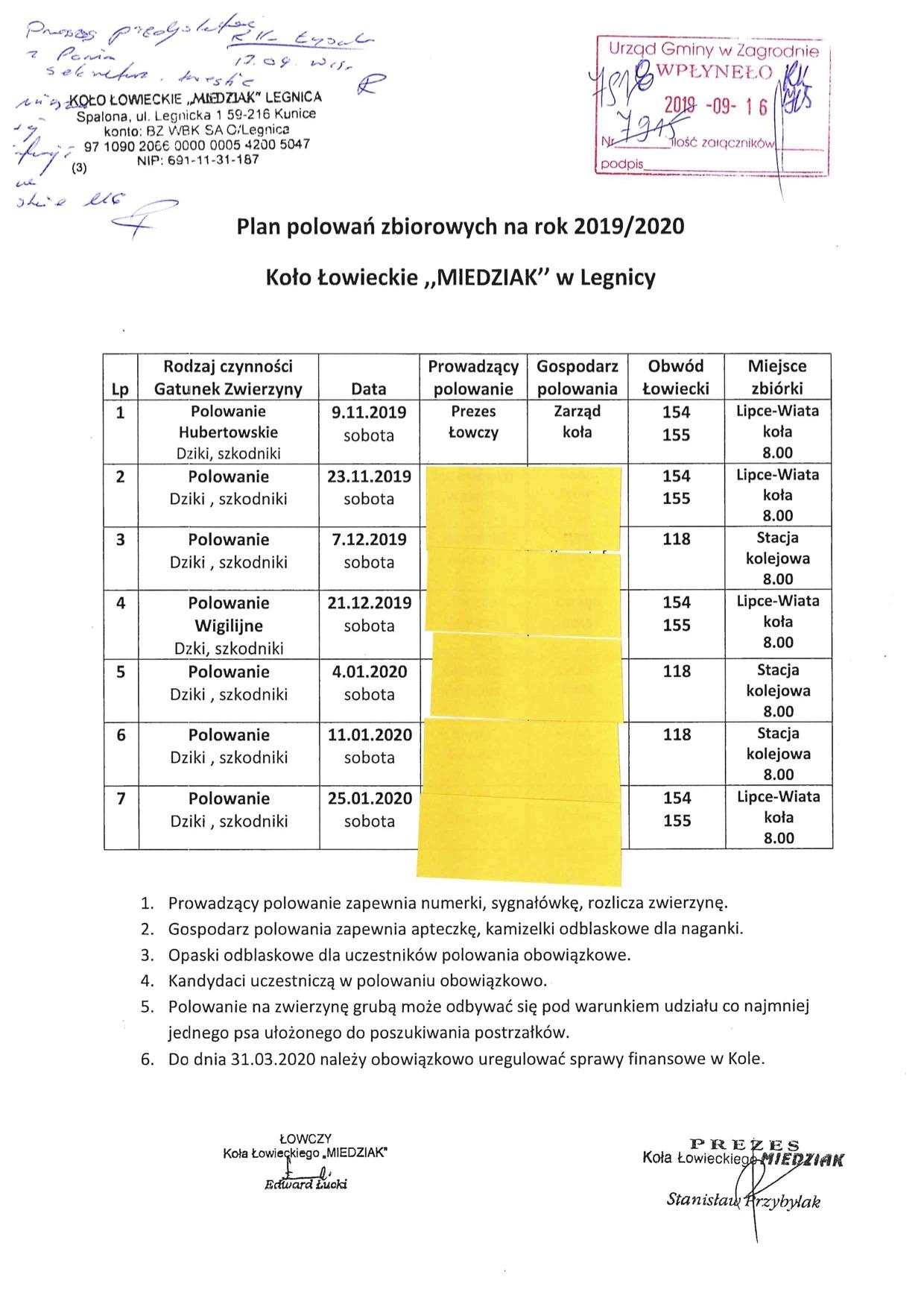 Plan polowań zbiorowych na rok 2019/2020