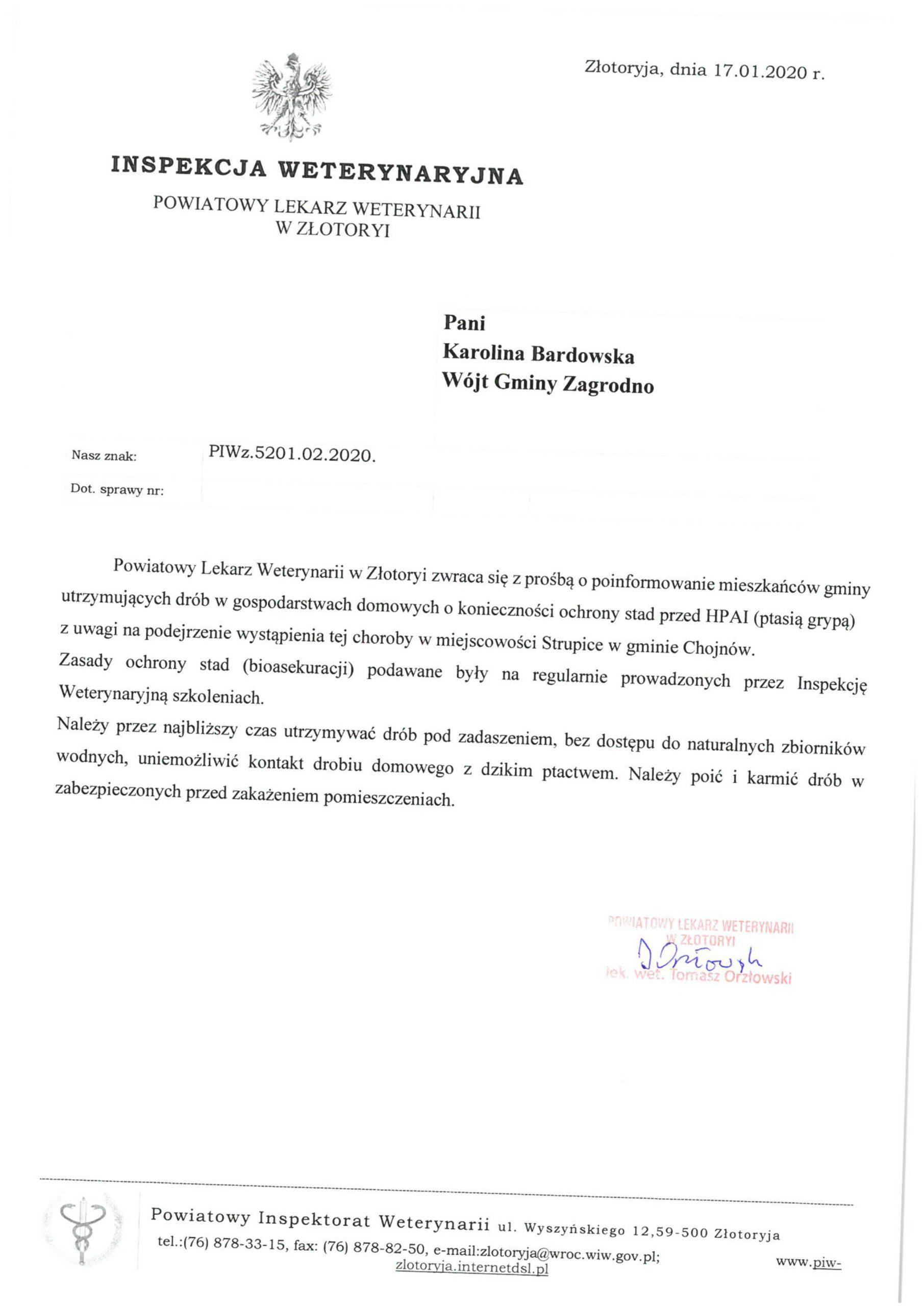 Wójt Gminy informuje o podejrzeniu Ptasiej Grypy w Strupicach (Gmina Chojnów) !